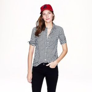 J. Crew Boy Shirt in Black-and-White Gingham